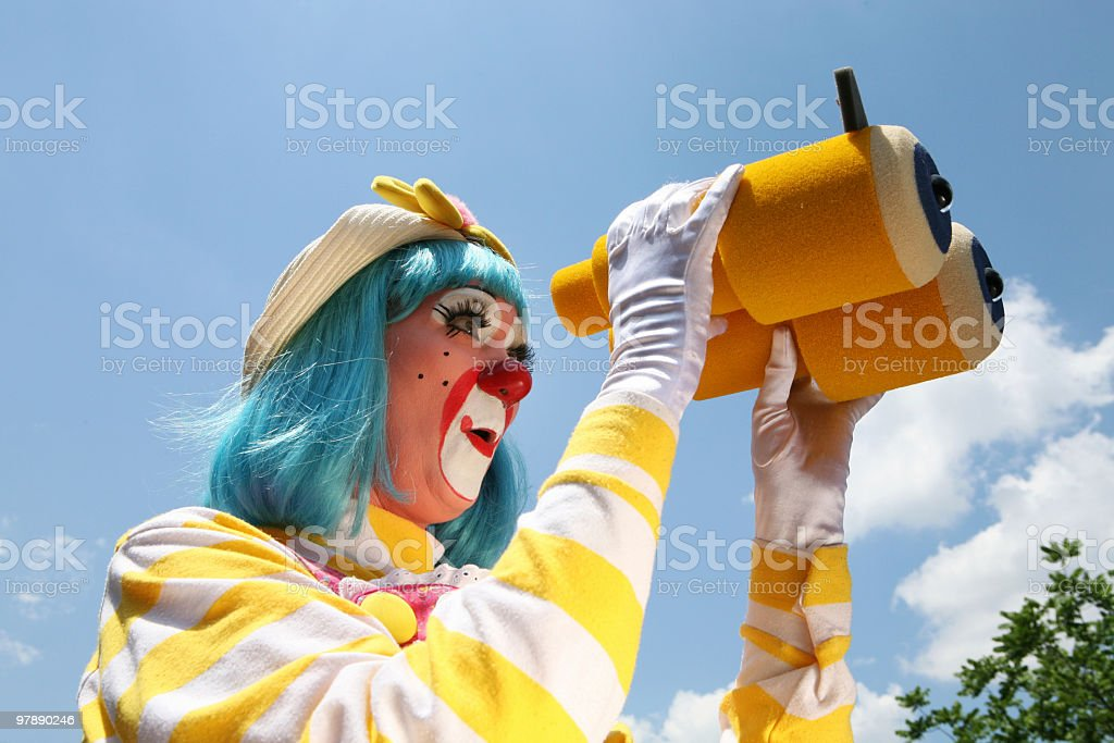 Female Clown with Binoculars royalty-free stock photo