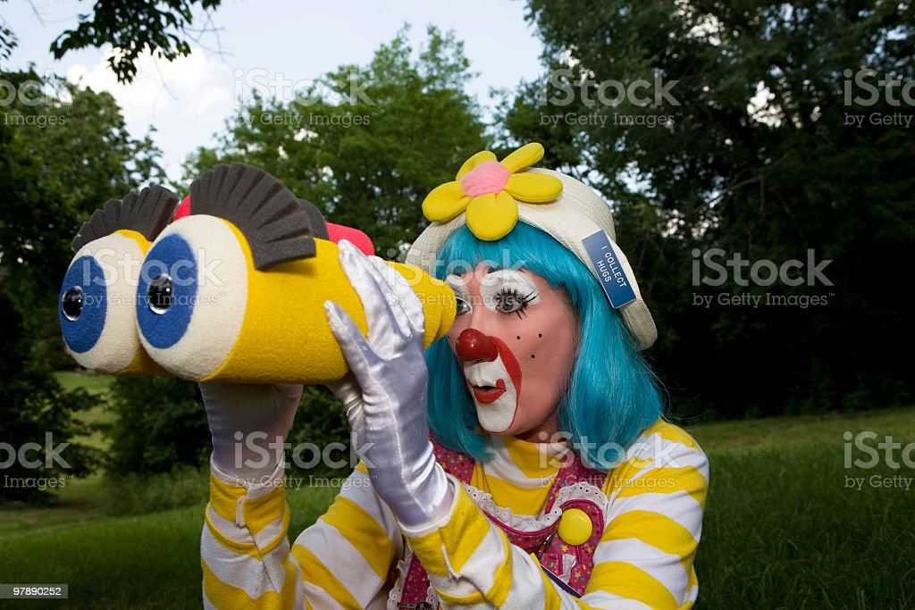 Female Clown with Binoculars royalty-free stock photo