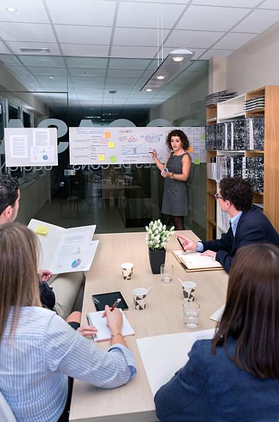 female coach training business team at headquarters - projektledning bildbanksfoton och bilder