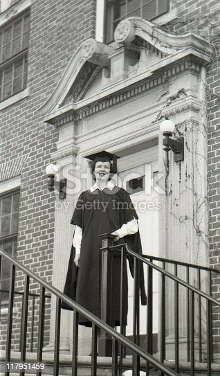 Female college graduate 1950. Scanned film with grain.