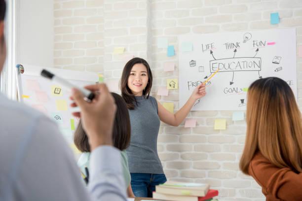 女大學生在課堂上做演講圖像檔
