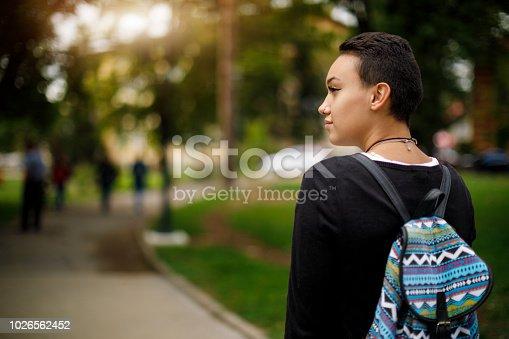 istock Female college student on university campus 1026562452