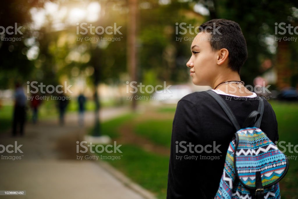 Female college student on university campus stock photo