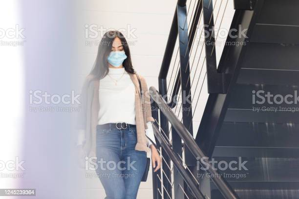 Female college student wearing protective mask walks down stairs picture id1245239364?b=1&k=6&m=1245239364&s=612x612&h=3ekcqp5lrbxg ziavzqhqrrng2b6 f2zswtpbx5829m=