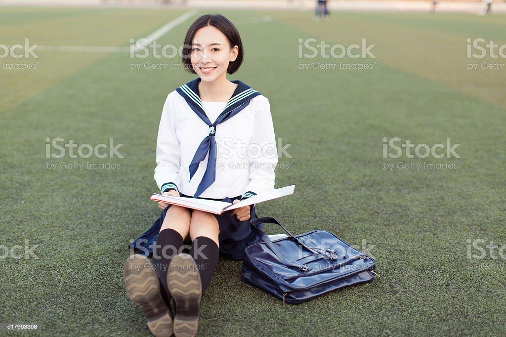 female college students at the stadium stok fotoğrafı