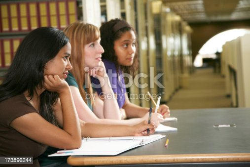 istock Female College Students Concentrating on Taking Notes 173896244