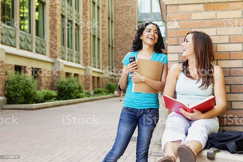 Female College Students on University Campus royalty-free stock photo