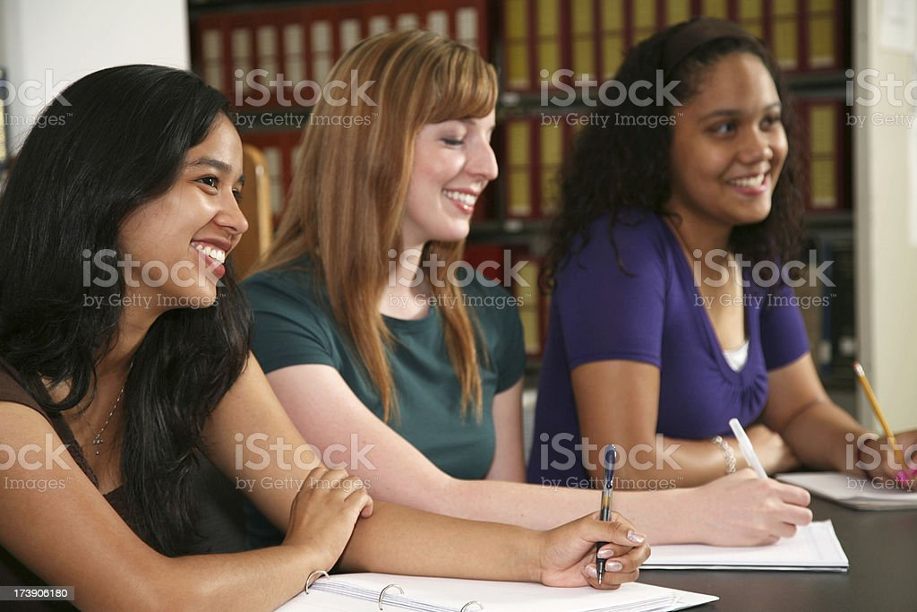Female College Students Taking Notes royalty-free stock photo