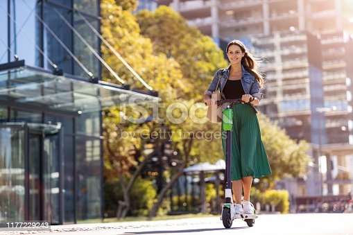 Portrait of beautiful young woman in urban area
