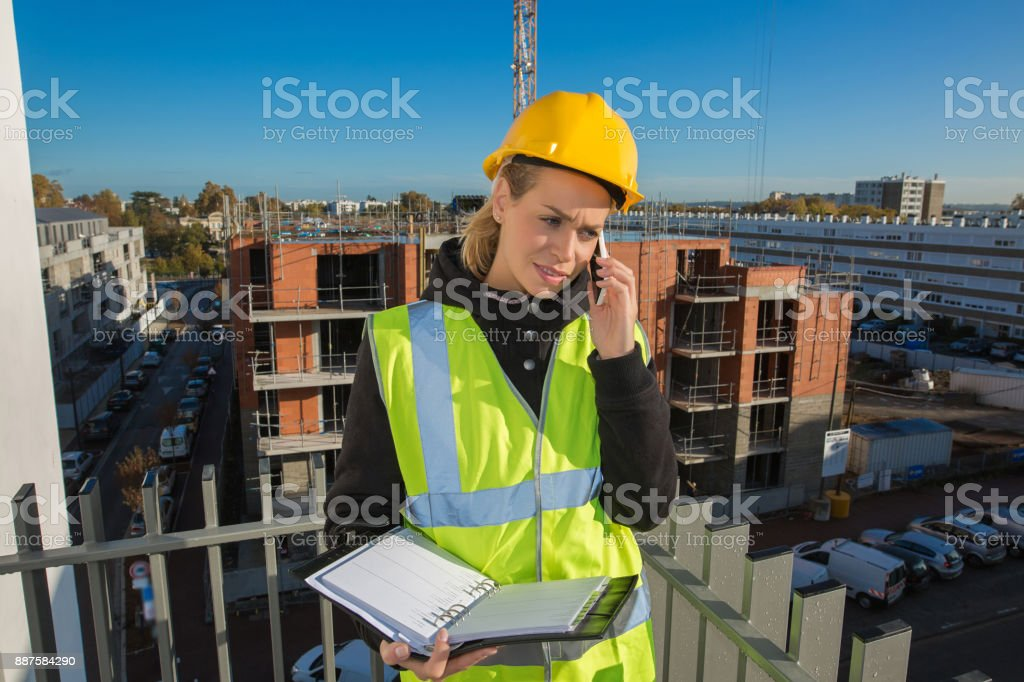 female construction worker concept stock photo