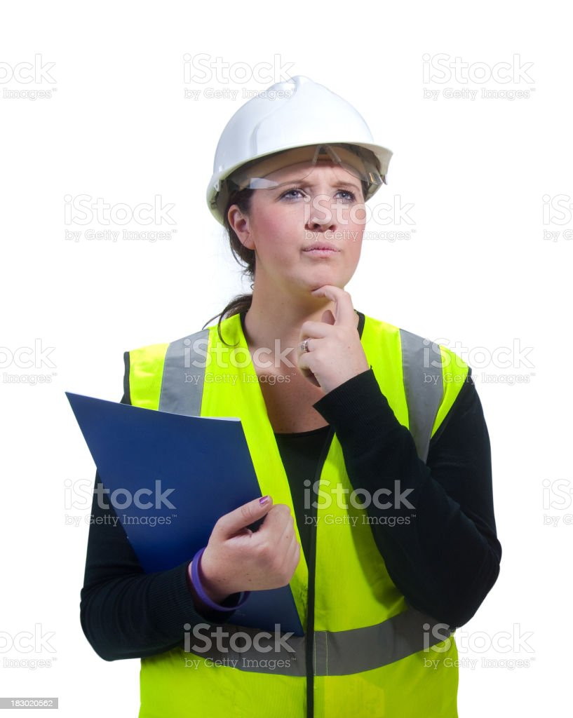 female construction worker in thought stock photo