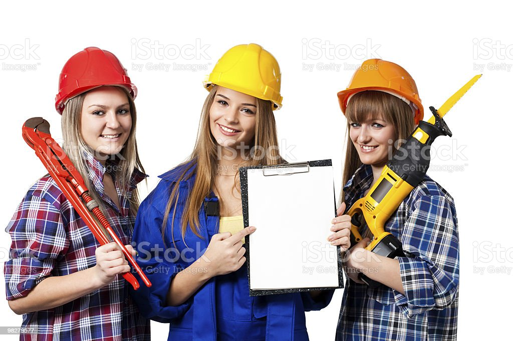 female construction workers royalty-free stock photo