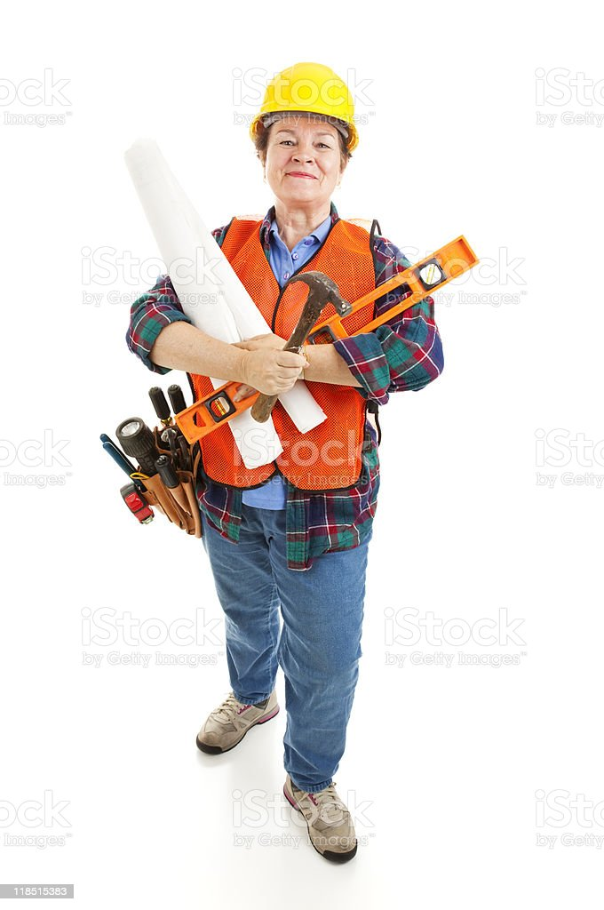 Female Contractor Ready for Work royalty-free stock photo
