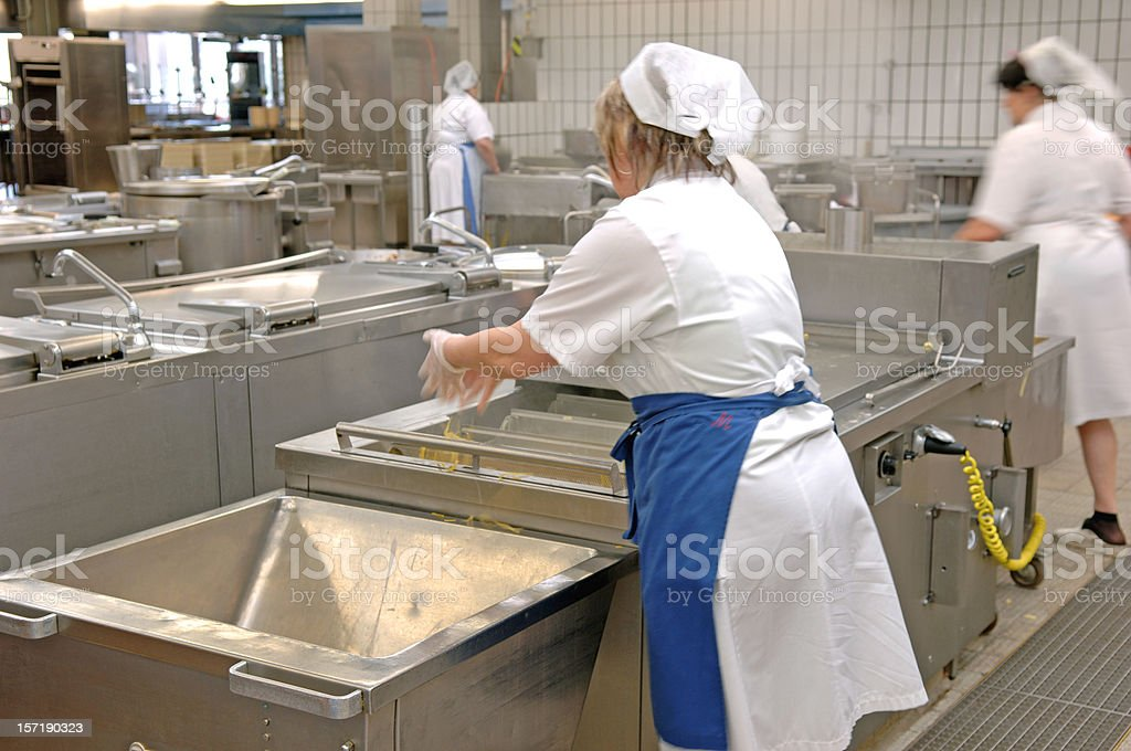 Female cooks in a canteen kitchen royalty-free stock photo