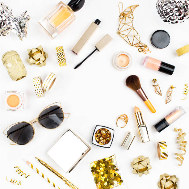 female cosmetics collage with lipstick, brush and other accessories on white background with copy space. flat lay, top view. - sport set competition round stock photos and pictures