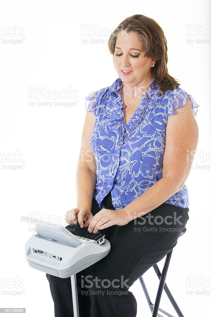 Female Court Stenographer at Work stock photo