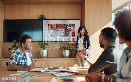 istock Female coworker making presentation in office 842214506