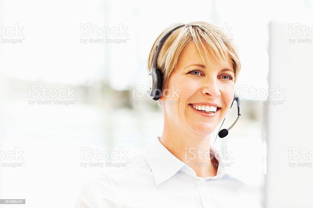 Female Customer Service Operator Smiling royalty-free stock photo
