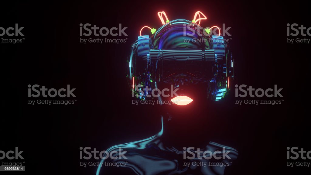 Female cyborg with VR headset - foto de stock