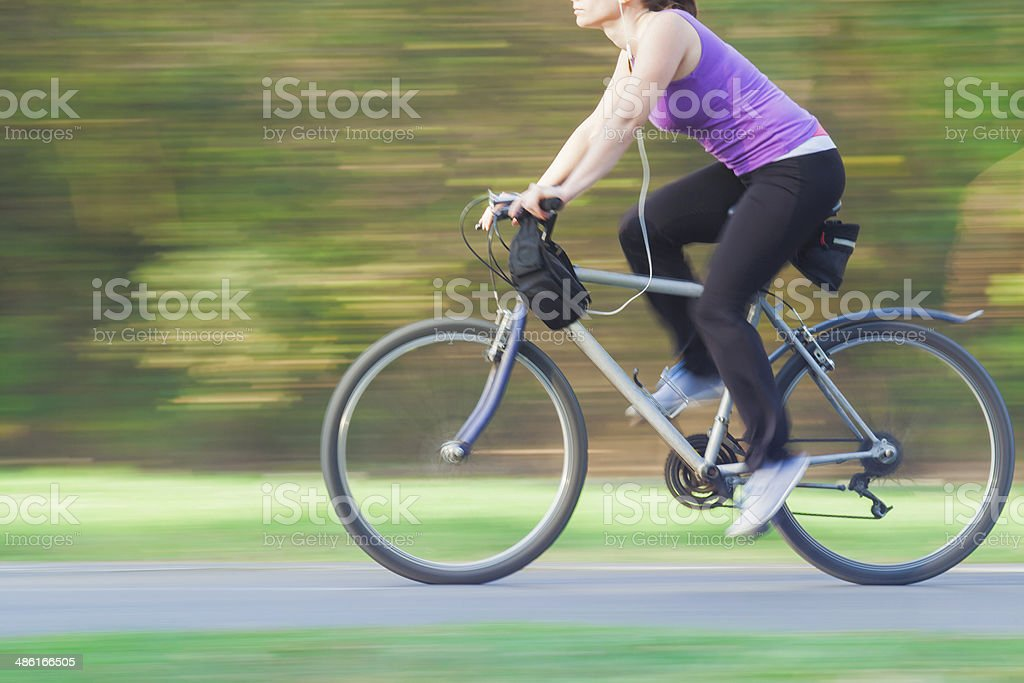 Female Cycling Fast royalty-free stock photo