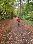 istock Female cyclist on Tarka Trail, North Devon 1299454188
