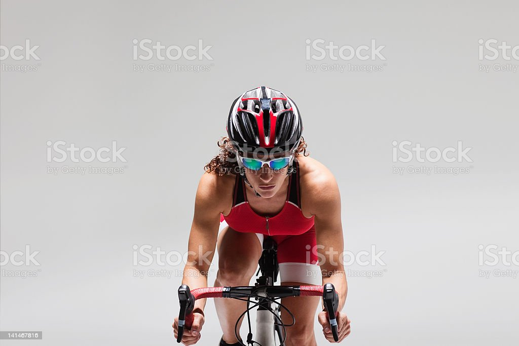 Female cyclist stock photo