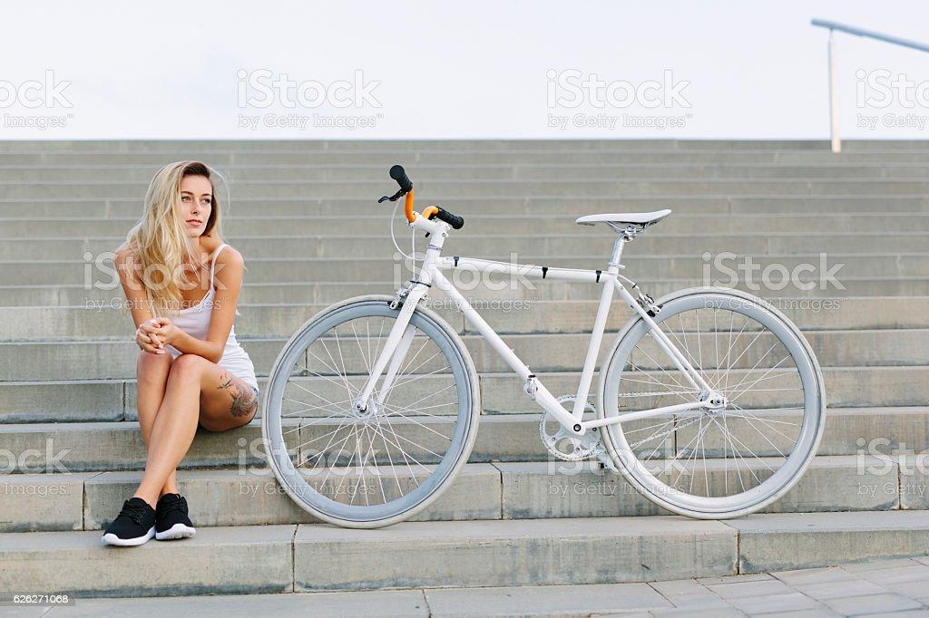 Female Cyclist Portrait stock photo