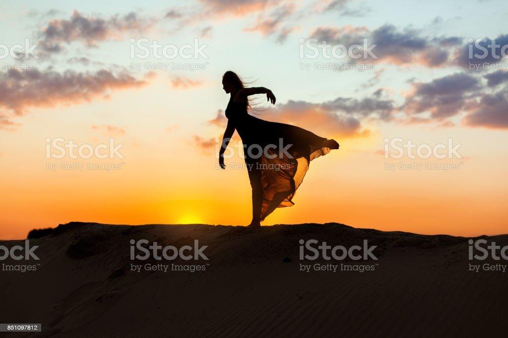 Female dancer dances. stock photo