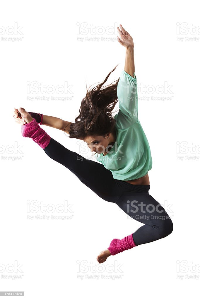 Female dancer jumping stock photo