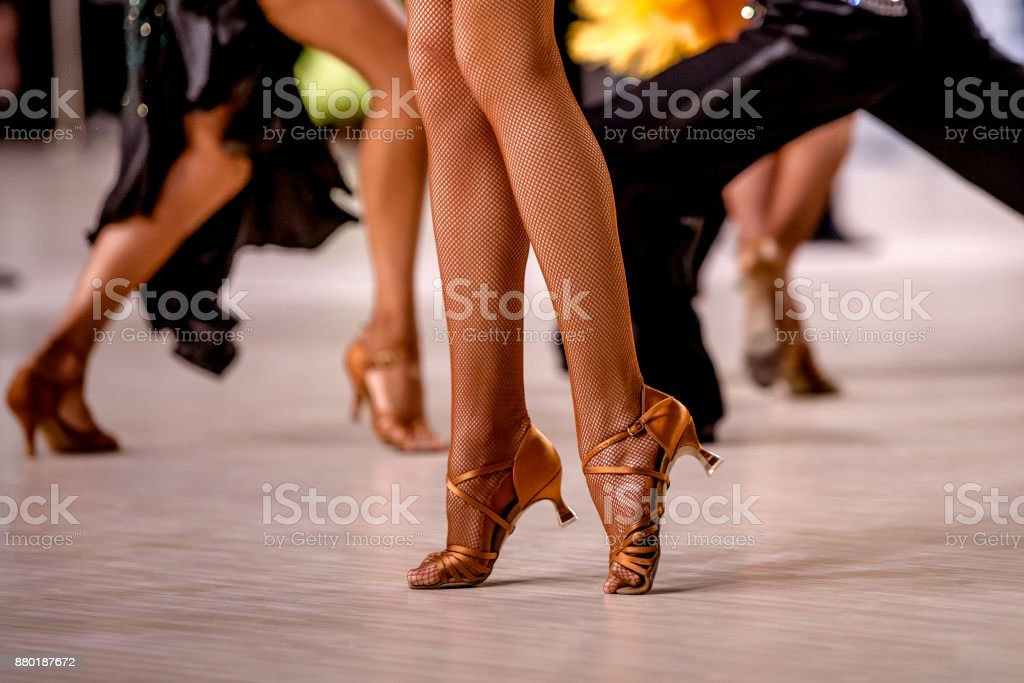 female dancer on her toes in stockings and heels shoes stock photo