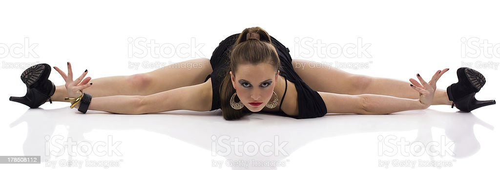 Female dancer posing, isolated on white stock photo