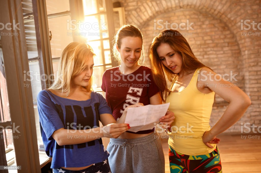 female dancers making a plan royalty-free stock photo