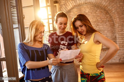Female Dancers Making A Plan Stock Photo & More Pictures of Adult