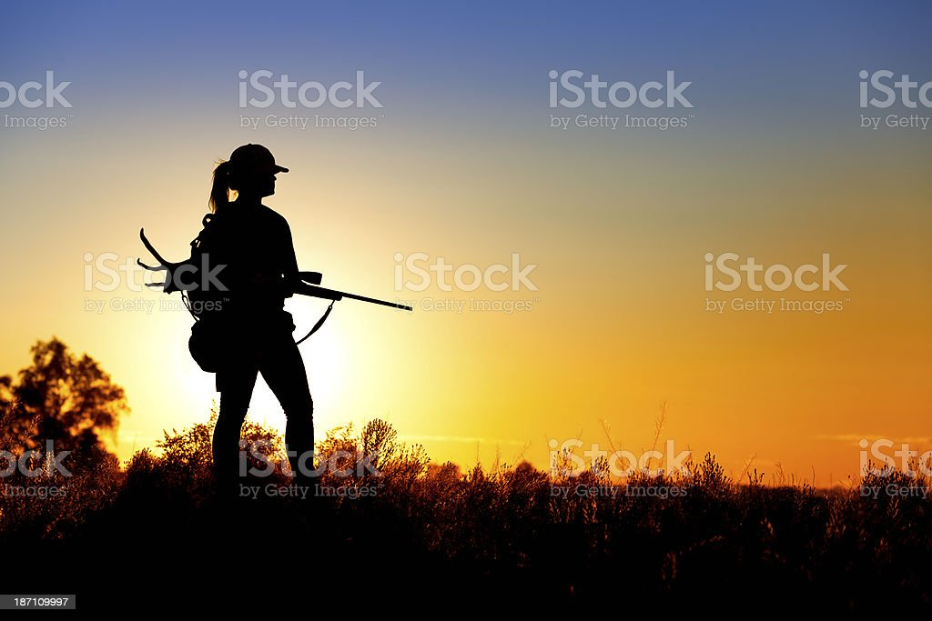 Female Deer Hunter stock photo