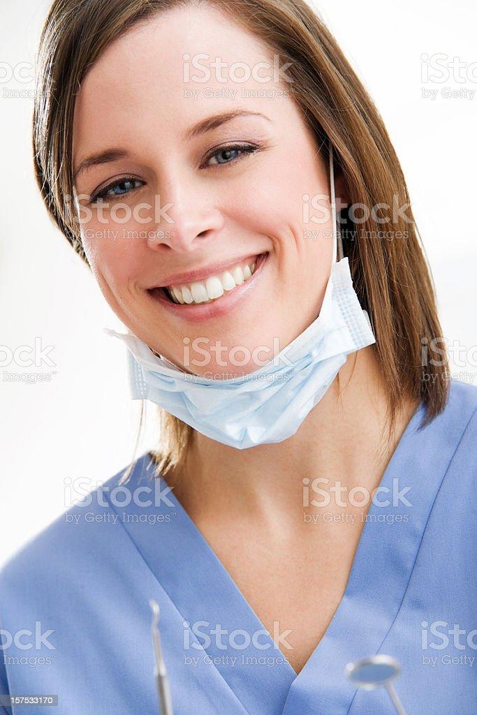 Female Dentist or Dental hygienist royalty-free stock photo