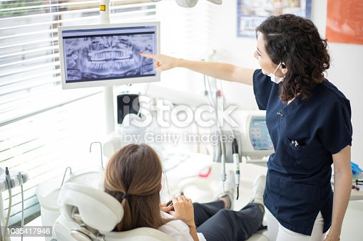 Female dentist talking to her patient at dentist's office