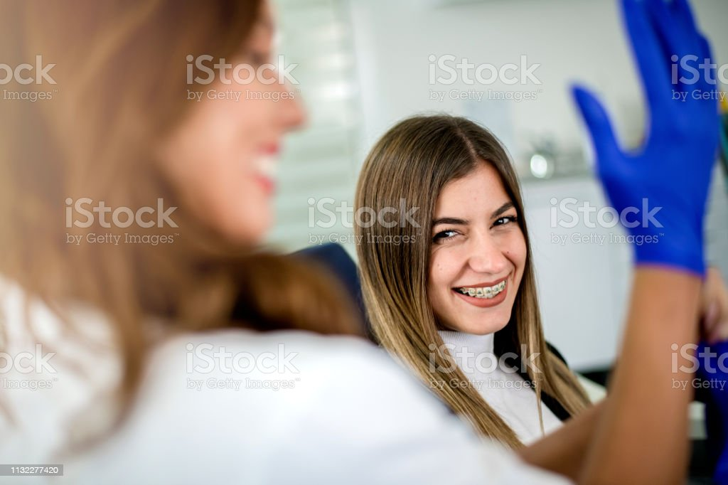 Gloves Surgical Hands Blue Sterilized Putting On Female Dentists