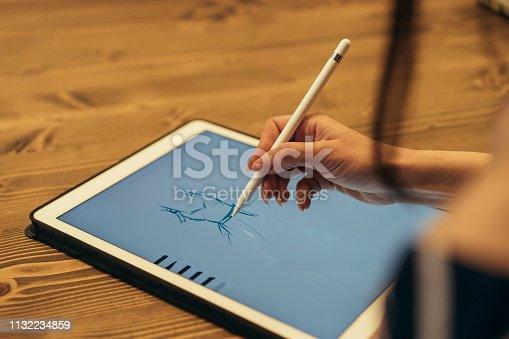 Female designer using graphic tablet and stylus pen
