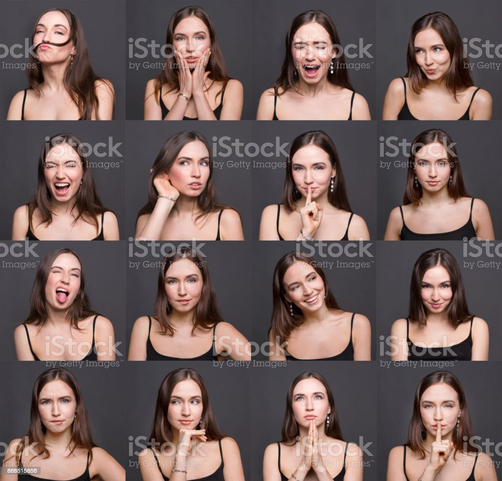 Female different emotions set stock photo