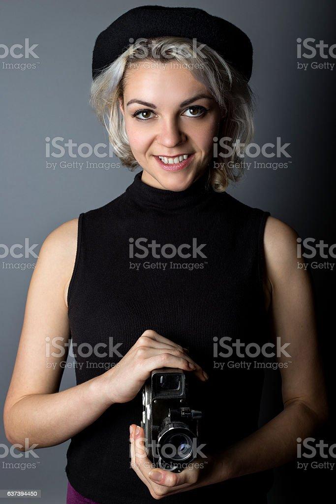 Female Director Filmmaker or Cinematographer stock photo