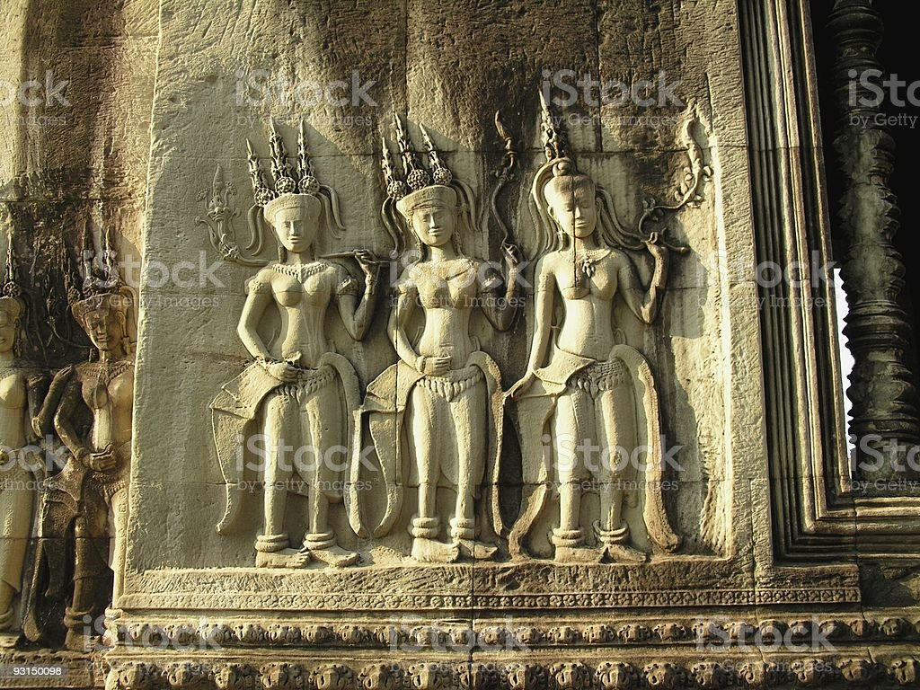 Female divinities in Angkor Wat stock photo
