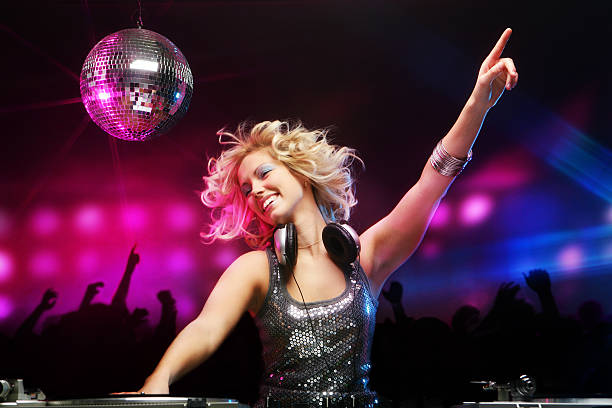 Female DJ in Action stock photo