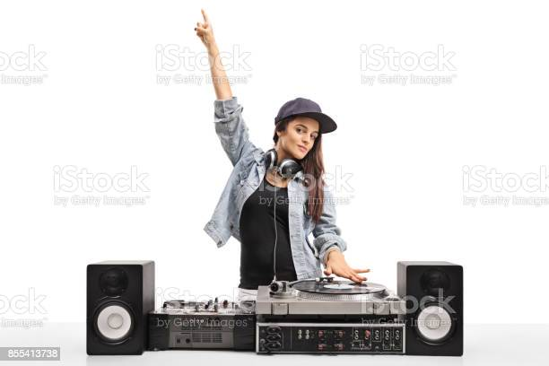 Female dj playing music on a turntable picture id855413738?b=1&k=6&m=855413738&s=612x612&h=slvrhl4s2ihfsdv1 cwu jakqcksb52t4b0sdyso92e=