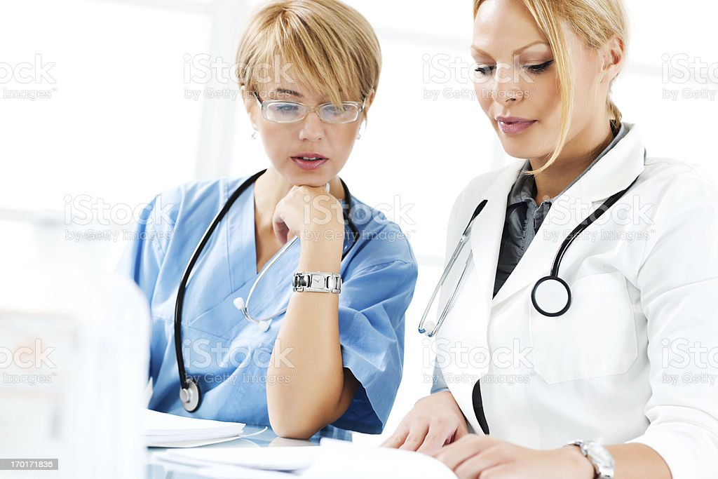 Female doctor and nurse. royalty-free stock photo