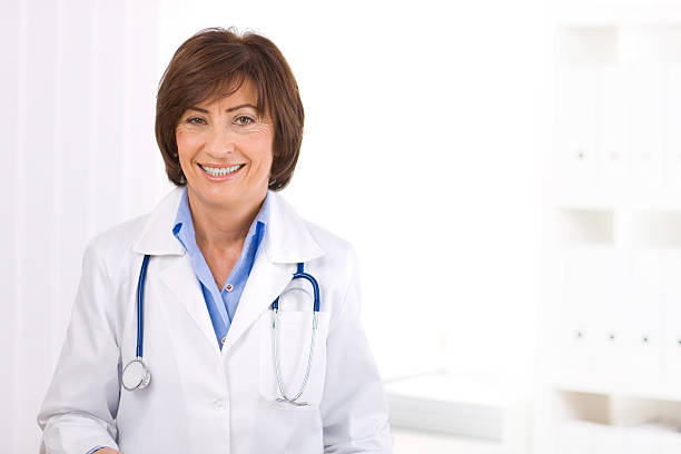 Female doctor at office stock photo