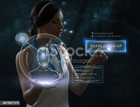 183306794istockphoto Female doctor doing checkup of human brain using futuristic technology 467697370