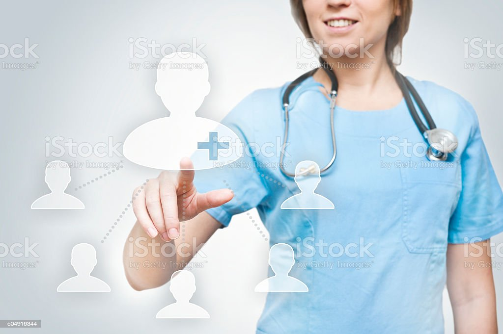 Female doctor healthcare users button /Healthcare concept (Click for more) stock photo