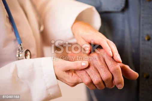 istock Female doctor helps senior man patient. Holding his hand. 510461153