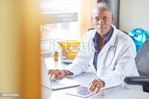 istock female doctor in her office 600000000