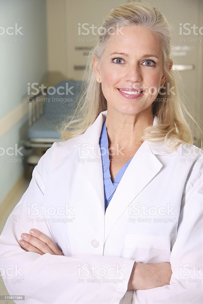 Female Doctor in Hospital Hallway royalty-free stock photo